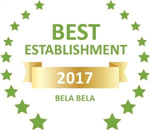 Sleeping-OUT's Guest Satisfaction Award. Based on reviews of establishments in Bela Bela, Lala Bela Guesthouse has been voted Best Establishment in Bela Bela for 2017