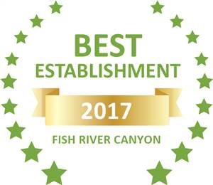 Sleeping-OUT's Guest Satisfaction Award. Based on reviews of establishments in Fish River Canyon, Goibib Mountain Lodge has been voted Best Establishment in Fish River Canyon for 2017