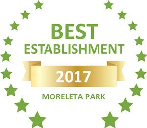 Sleeping-OUT's Guest Satisfaction Award. Based on reviews of establishments in Moreleta Park, A Venue has been voted Best Establishment in Moreleta Park for 2017