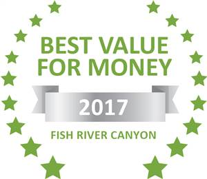 Sleeping-OUT's Guest Satisfaction Award. Based on reviews of establishments in Fish River Canyon, Goibib Mountain Lodge has been voted Best Value for Money in Fish River Canyon for 2017