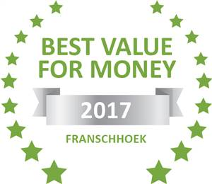 Sleeping-OUT's Guest Satisfaction Award. Based on reviews of establishments in Franschhoek, Franschhoek Country Cottages has been voted Best Value for Money in Franschhoek for 2017