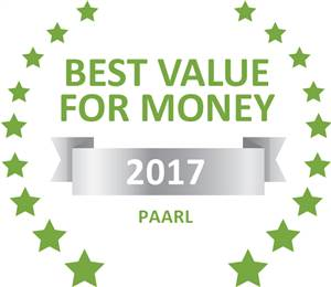 Sleeping-OUT's Guest Satisfaction Award. Based on reviews of establishments in Paarl, Rusticana Hospitality Estate has been voted Best Value for Money in Paarl for 2017