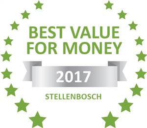 Sleeping-OUT's Guest Satisfaction Award. Based on reviews of establishments in Stellenbosch, Beau Belle Guest Cottage  has been voted Best Value for Money in Stellenbosch for 2017
