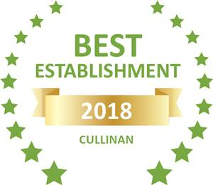 Sleeping-OUT's Guest Satisfaction Award. Based on reviews of establishments in Cullinan, Tranquillity Spa Lodge has been voted Best Establishment in Cullinan for 2018