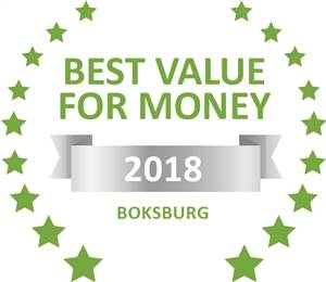 Sleeping-OUT's Guest Satisfaction Award. Based on reviews of establishments in Boksburg, Fin and Feather Guesthouse has been voted Best Value for Money in Boksburg for 2018