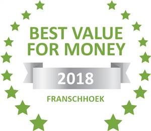 Sleeping-OUT's Guest Satisfaction Award. Based on reviews of establishments in Franschhoek, Petit  Plaisir Cottage has been voted Best Value for Money in Franschhoek for 2018