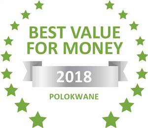 Sleeping-OUT's Guest Satisfaction Award. Based on reviews of establishments in Polokwane, Sheilas Accommodation has been voted Best Value for Money in Polokwane for 2018
