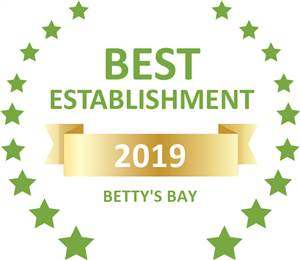 Sleeping-OUT's Guest Satisfaction Award. Based on reviews of establishments in Betty's Bay, Ambre Cottage has been voted Best Establishment in Betty's Bay for 2019