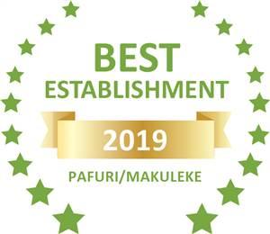 Sleeping-OUT's Guest Satisfaction Award. Based on reviews of establishments in Pafuri/Makuleke, Awelani Lodge has been voted Best Establishment in Pafuri/Makuleke for 2019
