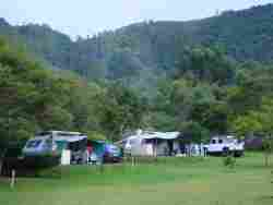 Camping and Caravaning between two mountains.