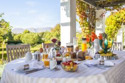 Continental Breakfast is served on long tables either under the wine overgrown pergola with beautiful mountain views or on the veranda overlooking the natural pond and the garden.