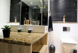 Modern design Bathroom with  spacious shower.