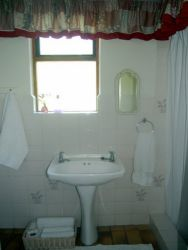The bathroom downstairs has a shower, handwash basin and toilet.