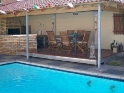 The undercover braai/BBQ area and pool are there to be enjoyed by our guests.