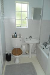 Clean bathroom, has shower and bath.