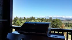 Gas braai on the deck for easy meals, with a great mountain view.