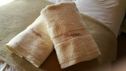 Quality bath towels provided to guests