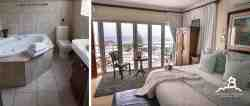 Penthouse en-suite room 7 featuring a king size bed, private balcony and excellent sea views.