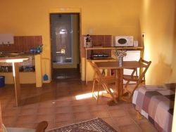 Single bed in the living area