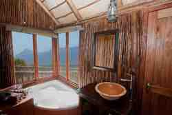 Tree House bathroom with tub, sink, toilet, and outside shower