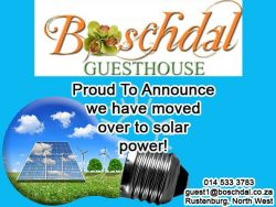 We have connected Solar energy to all our rooms so you will have lights, TV and Wifi even during load shedding.