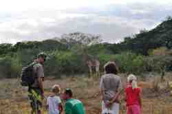 Ukuhamba Guiding taking guest on a complimentary bush walk on Kuleni Game Park