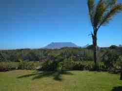 view on Table Mountain from bachelor apartment, communal area and cabin.