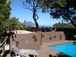 View from our patio/Jacuzzi overlooking Chapman's Peak Drive and the bay.