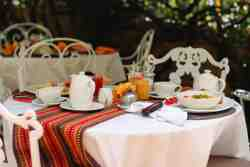 In summer, you can choose to have breakfast in the garden