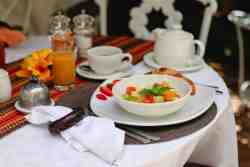 We'll serve you your favourite breakfast. Fruit juice, fruit salad amongst other delicious options