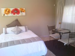 Free standing Queen room with queen size bed, TV with full DSTV, en-suite bathroom with shower, fully equipped, self catering kitchenette and dining table for 2