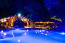 Croc Valley at Bar and Pool at night