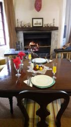 Enjoy breakfast in front of the fireplace
