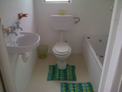 separate bathroom with bath and toilet