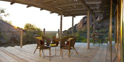 Luxury tent deck with mountain view