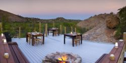 Restaurant deck with fire pit
