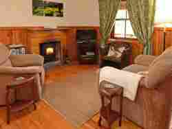 Lounge with fireplace, tv/dvd and DSTV in luxury cottages (Copyright Forest Edge)