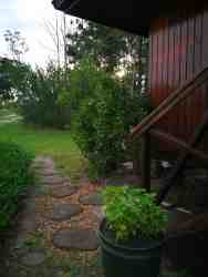 The path leading up to the Cabin. Please note that there are small stairs going up to the Cabin's front door.