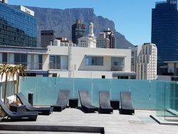 Pool Deck with magnificent views of Table Mountain, Cape Town CBD, the working harbour and the Waterfront