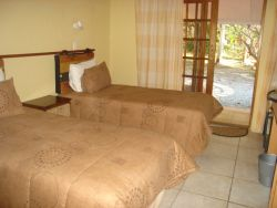 A twin bed room in Hippo Lodge