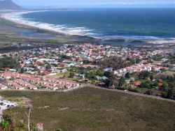 Our town and the 4km Kleinmond Beach as seen from the mountain.