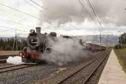 Steam train passing the house