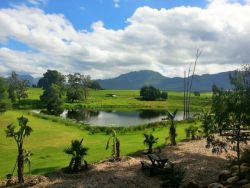 overview on the garden ,dam and Outeniqua mountains