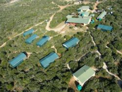 Aerial view of lodge.