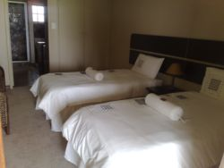 A standard room, set-up with single beds