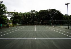 Flood-lit tennis courts at Selborne Park Golf Estate