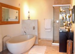 Roman style en- suite bathroom with stone bath