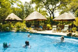 The Lodge boasts a large pool area with a separate kiddies' pool.