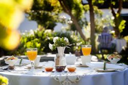 Breakfast served in the garden