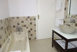 Luxury unit bathroom with shower, bidet and bath.